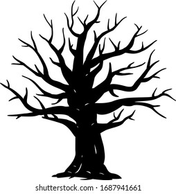 Silhouette of one wide massive old oak tree without leaves isolated illustration, black majestic oak without foliage with a rude trunk