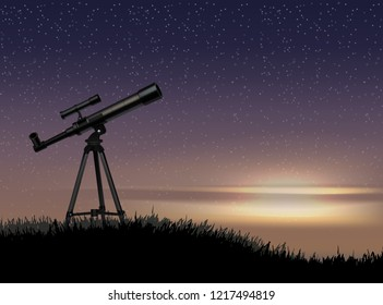 Silhouette of an optical telescope on a stand on a sunset background with a starry sky. Vector realistic llustration of astronomical instrument