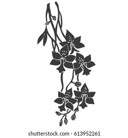 Silhouette of orchid flower tattoo illustration.