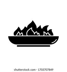 Silhouette Outdoor Fire Pit icon. Outline logo of low bonfire bowl. Black simple illustration of campfire, accessory for backyard, picnic in nature. Flat isolated vector emblem on white background