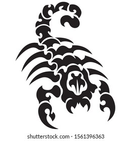 The silhouette, outline of a black scorpion on a white background is drawn with lines of various widths. Logo arachnids scorpion. Vector illustration