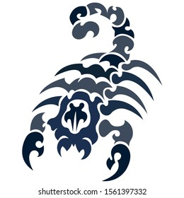 The silhouette, outline of a blue scorpion on a white background is drawn with lines of various widths. Logo arachnids scorpion. Vector illustration