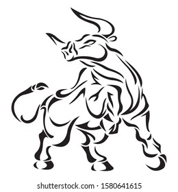 The silhouette, the outline of the bull is drawn in black on a white background with lines of various widths. Animal bull logo. Vector illustration for design