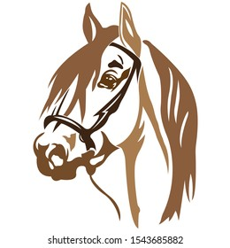 The silhouette, the outline of the horse's muzzle brown on a white background, the portrait is drawn with lines of different widths. Logo animal horse head. Vector illustration