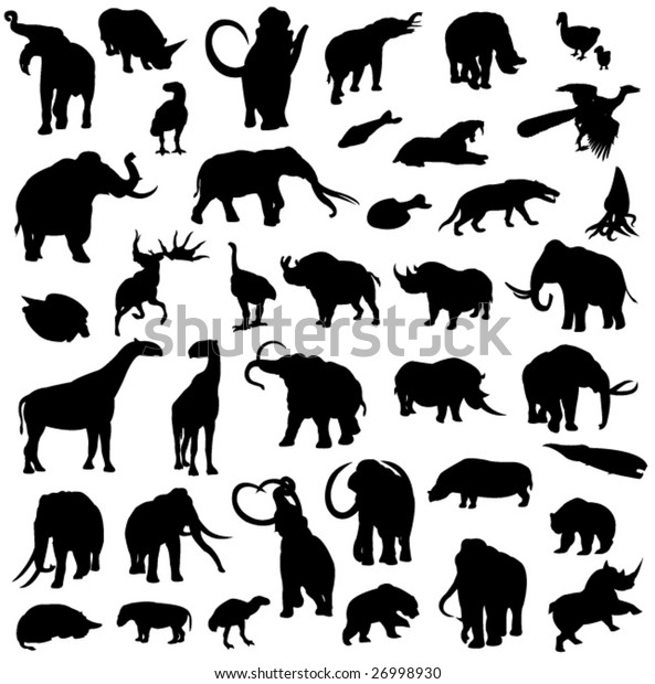 Silhouette outline of prehistoric animals