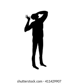 Silhouette over white with clipping path. Man looks at the sky. The man closes his head in his hands.