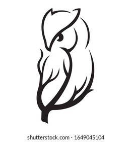 Silhouette of an owl sitting on a tree branch, black bird on a white isolated background. Owl tattoo, company logo, agencies, emblem for design of clothes, dishes, album, paper, cards, books. Vector