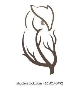 Silhouette of an owl sitting on a tree branch, brown bird on a white isolated background. Owl tattoo, company logo, agency, emblem for fashion design, dishes, album, paper, cards, books. Vector