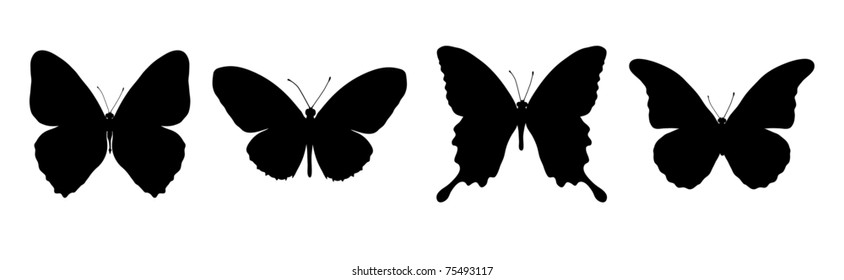 Silhouette of painting four black butterflies