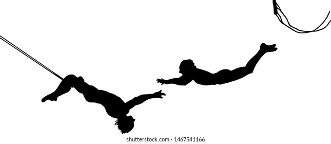 Silhouette of a pair of trapeze artist flying through the air. Vector illustration.