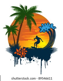 Silhouette of palm and surfer on tropical sunset