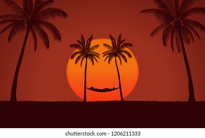 Silhouette palm tree with hammock on beach and big sunset in red sky background