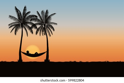 Silhouette palm tree with hammock on beach under sunset sky background (vector)