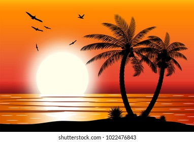 Silhouette of palm tree on beach. Sun with reflection in water and seagulls. Sunset in tropical place. Vector illustration