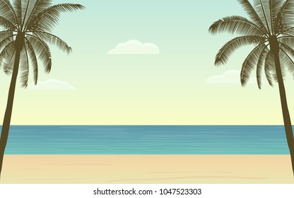 Silhouette palm tree on beach Landscape in flat icon design and blue color sky background