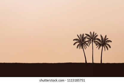 Silhouette palm tree on beach and sunset sky with vintage filter background