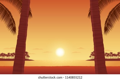 Silhouette palm tree on beach in flat icon design under sunset sky background