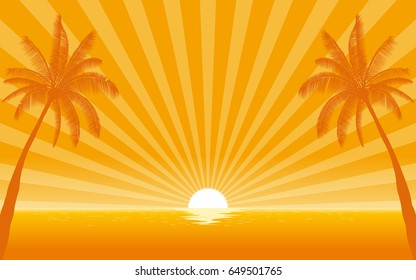 Silhouette palm tree on beach in flat icon design with sunshine ray background