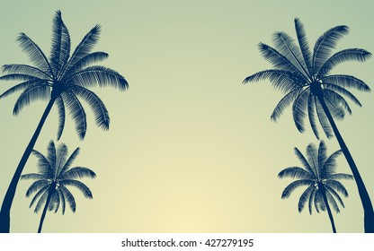 Silhouette palm tree and sunset sky in flat icon design with vintage filter background (vector)