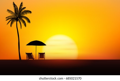 Silhouette palm tree with umbrella and chairs on beach under sunset sky background
