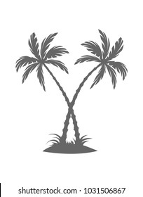 Silhouette of palm trees on the island. Vector illustration isolated white background. Tropical palm tree, branch and separate banana leaf.