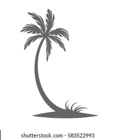Silhouette of palm trees on the island. Vector illustration isolated white background.