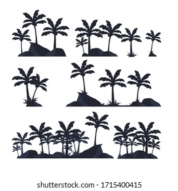 Silhouette of palm trees, tropical plants and stones. Vector constructor - silhouette of palm trees. A selection of black palm tree silhouettes. Vector illustration.