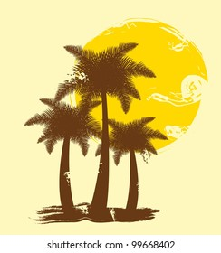 silhouette palms with sun, hand drawing. vector illustration