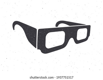 Silhouette of paper 3d glasses isometric view. Vector illustration. Stereo retro glasses for three-dimensional cinema. Film industry symbol. Clipart for signboards, posters. Isolated white background