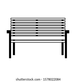 silhouette of park chair on white background vector illustration design