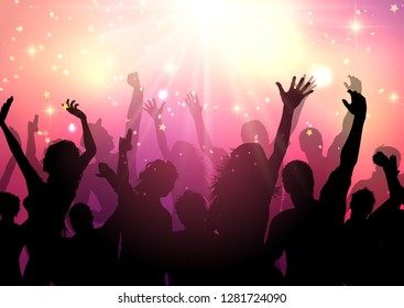 Silhouette of a party audience