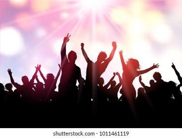 Silhouette of a party crowd on a bokeh lights background