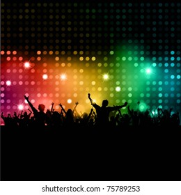Silhouette of a party crowd on a disco lights background