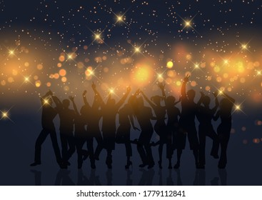 Silhouette of a party crowd on a gold bokeh lights and stars background