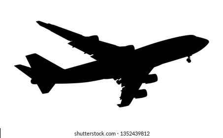 Silhouette of a passenger plane on a white background. Vector illustration.