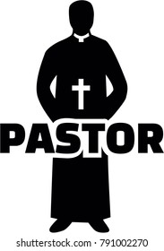 Silhouette of a pastor wearing priestly robes with job title