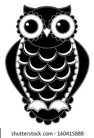 Silhouette patchwork owl. Isolated on white. Vector illustration.