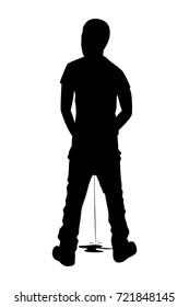 Silhouette peeing man on white background