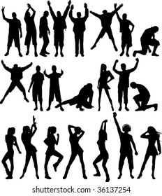Silhouette people. All elements and textures are individual objects. Vector illustration scale to any size.