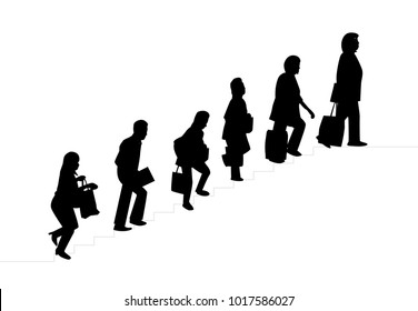 Silhouette  People with bag walked up the stairs
