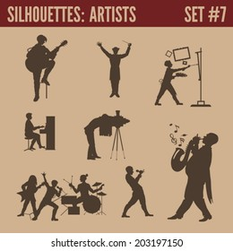 Silhouette people collection. Men of arts silhouettes. Guitar singer, conductor, artist painter, piano performer, photographer retro, sax saxophone player, rock band concert, dart.