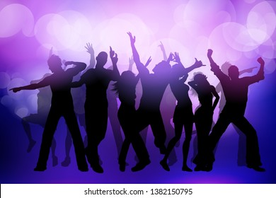 Silhouette of people dancing on a bokeh lights background