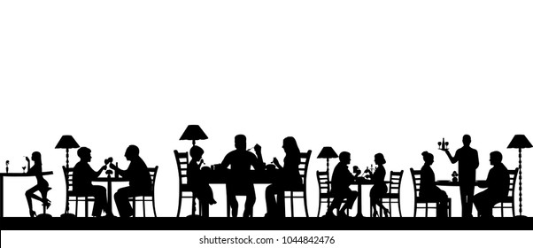 Silhouette of people eating in a restaurant with all figures as separate objects, one in the series of similar images