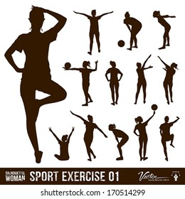 Silhouette people exercise design background, vector illustration