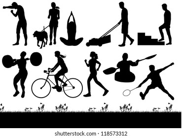 Silhouette of people exercising and burning calories, vector