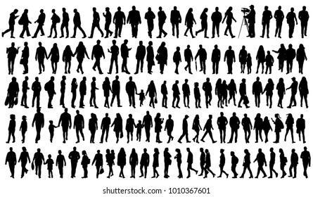 silhouette people go set