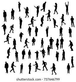 silhouette of people go stand