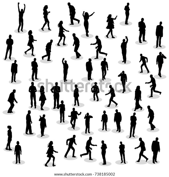 Silhouette People Group Stand Stock Vector (Royalty Free