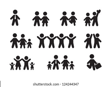 Silhouette people icons over white background vector illustration