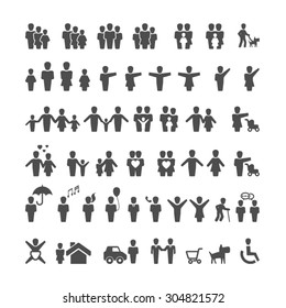 Silhouette people icons set,Vector